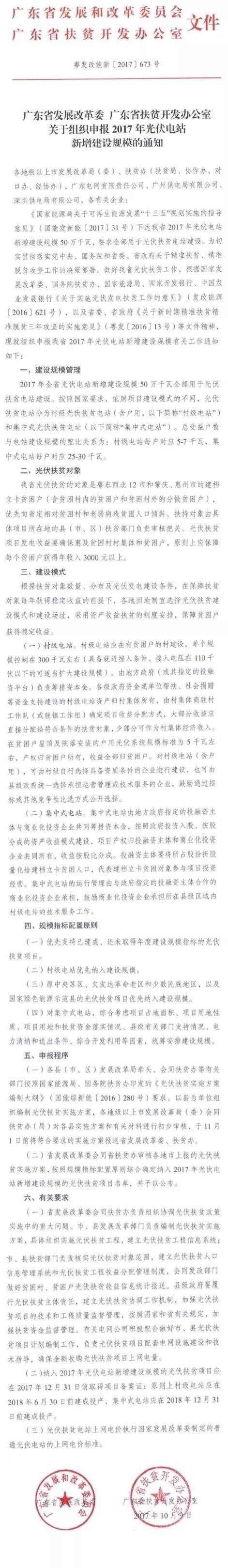 广东省2017年500MW指标全部用于光伏扶贫